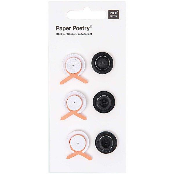 Paper Poetry Quilling Sticker Hochzeitshüte