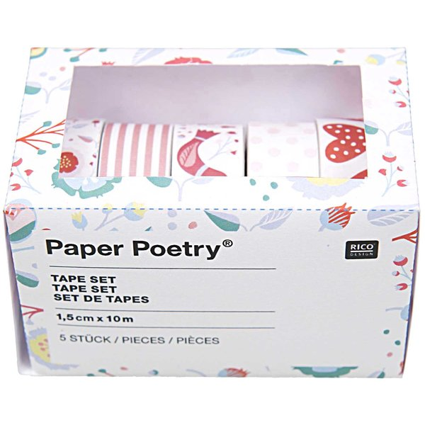 Paper Poetry Tape Set rot  1,5cm 10m 5 Stück
