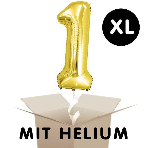 YEY! Let's Party Folienballon mit Helium Zahl gold 86cm