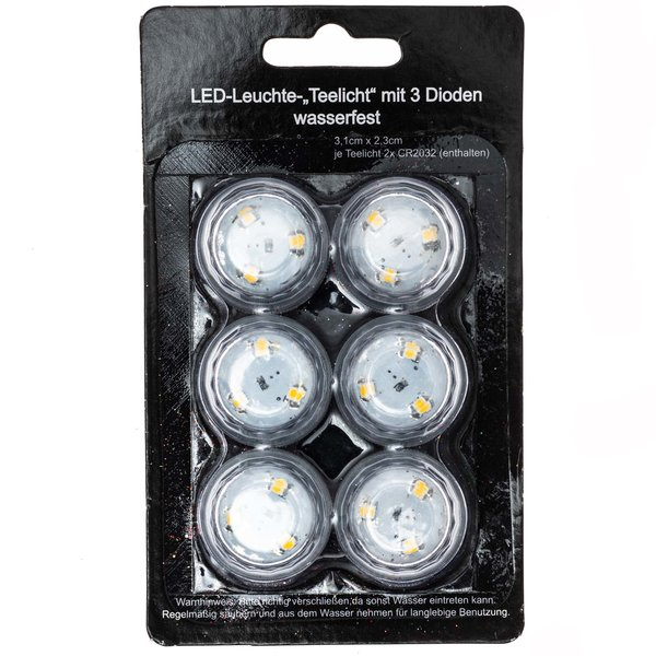 LED-Leuchte Teelicht wasserfest 3,1x2,3cm 6 Stück