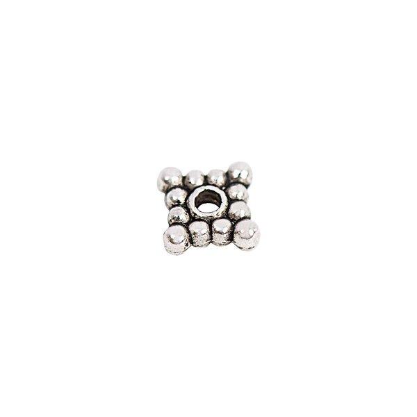 Rico Design Scheibe quadratisch mit Kugel silber 6x2mm 30 Stück