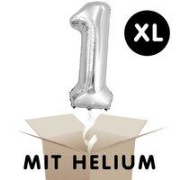 YEY! Let's Party Folienballon mit Helium Zahl silber 86cm