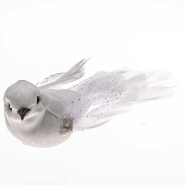 Taube Glitzer weiß 13cm