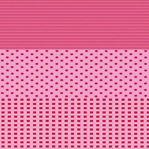 décopatch Papier Punkte-Karo-Steifen rosa-pink 3 Bogen