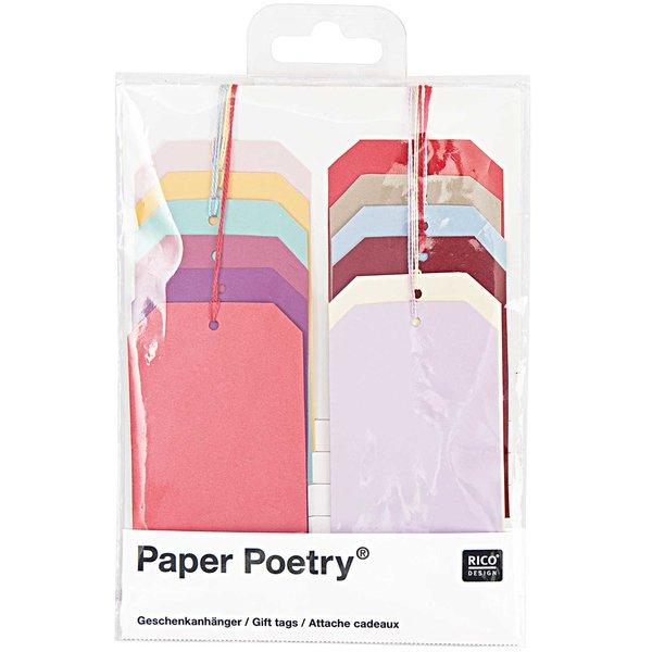 Paper Poetry Geschenkanhänger mehrfarbig 12 Stück
