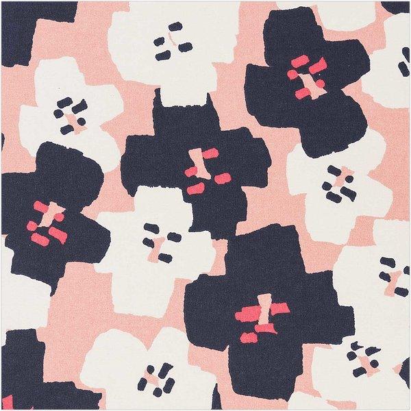 Rico Design Druckstoff Okina Hana Blumen pink-schwarz 140cm beschichtet