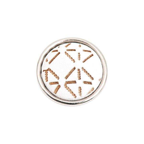 Rico Design Knopf Sterne weiß-braun 14mm