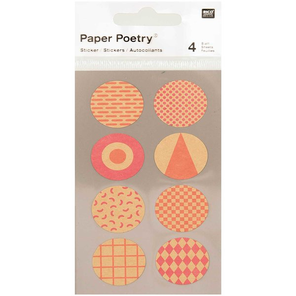Paper Poetry Kraftpapier Sticker rund neon 4 Bogen