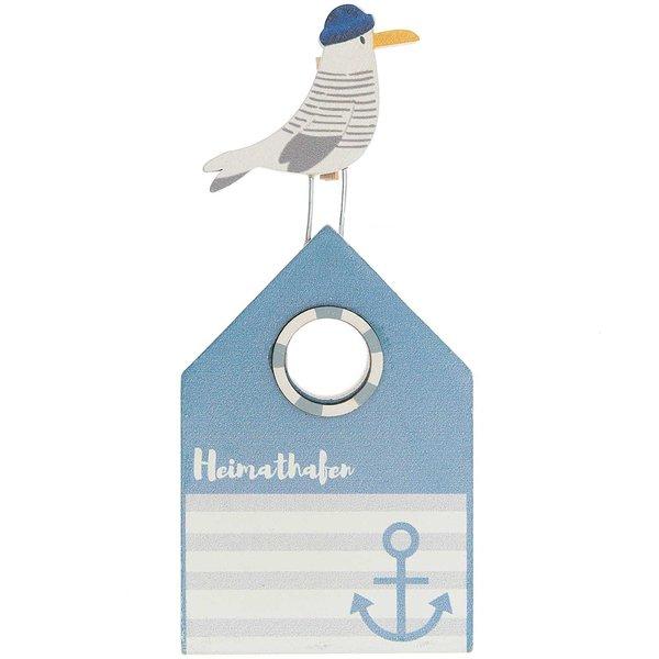 Kartenhalter Heimathafen blau-weiß 15x6,7cm
