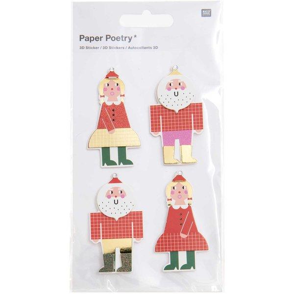 Paper Poetry 3D-Sticker Weihnachtsmann 1 Blatt