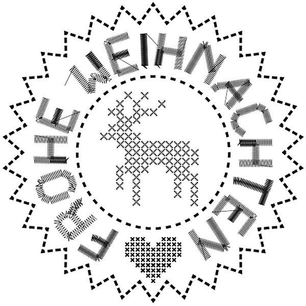Rico Design Stempel Frohe Weihnachten Kreuzstich Ø=3,5cm rund