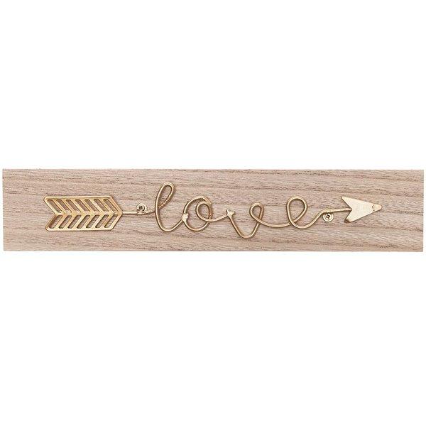Deko-Schild love mit Pfeil Holz 30x6cm