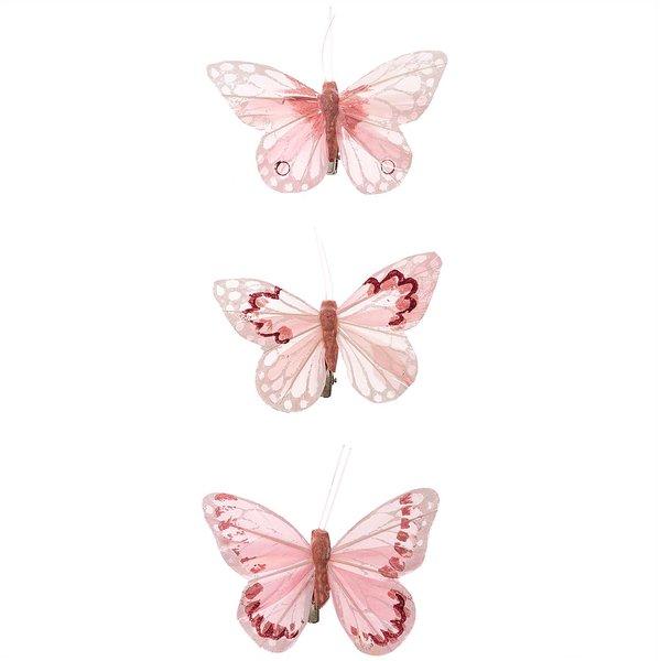 Schmetterling mit Clip pastell-rosa 9cm 3 Stück