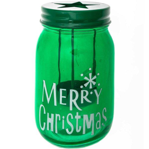 Teelichthalter Merry Christmas grün 14x7,5cm