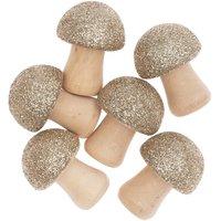 Ohhh! Lovely! 3D-Holzstreu Pilz mit Glitter natur-gold  6 Stück