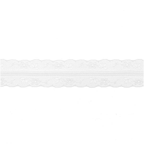 Spitzendband Blüte zart weiß 34mm