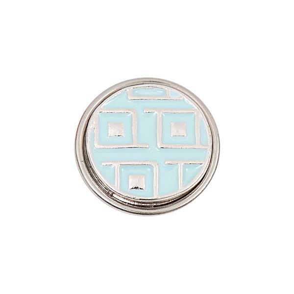 Rico Design Knopf Muster grau-hellblau 14mm