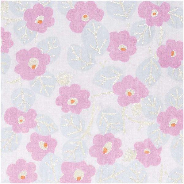 Rico Design Musselin-Druckstoff Aloha Blumen rosa Hot Foil 140cm