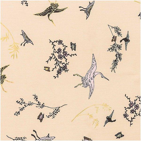 Rico Design Druckstoff Jardin Japonais Kraniche beige-gold 140cm