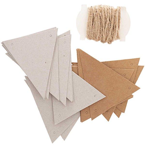 Paper Poetry Papierwimpel Kraftpapier-Graukarton 24 Stück