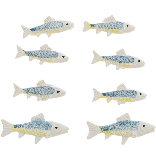 Fische mit Klebepunkt blau-gelb 8 Stück