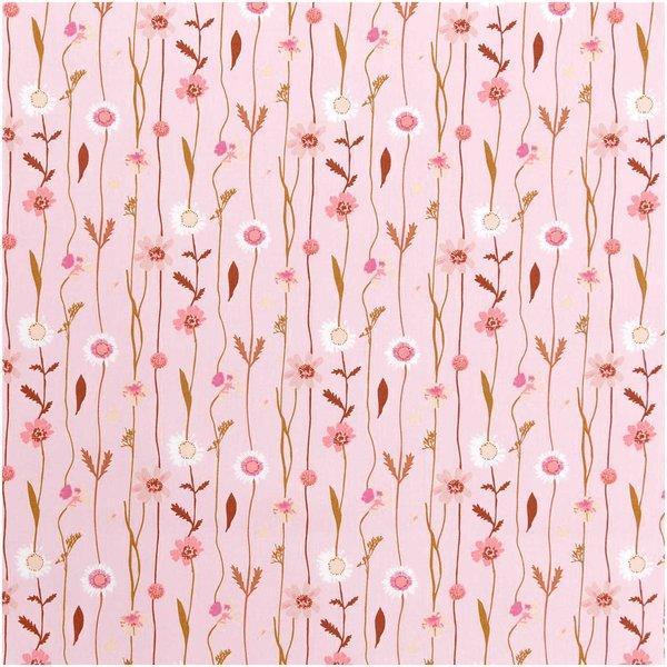 Rico Design Stoffabschnitt Druckstoff Wildblumen rosa 50x140cm
