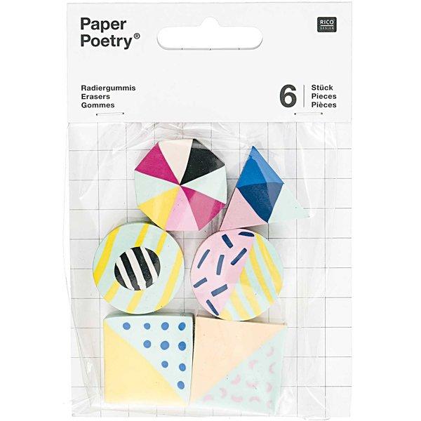 Paper Poetry Radiergummis modern mix 6 Stück