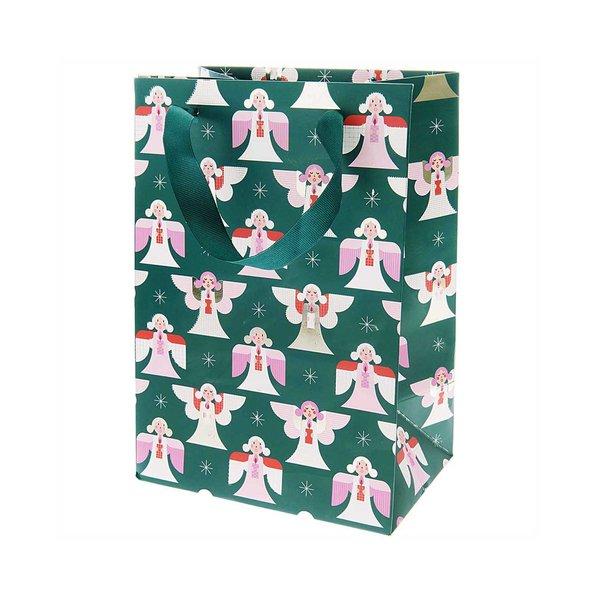 Paper Poetry Geschenktüte Engel dunkelgrün 18x26x12cm