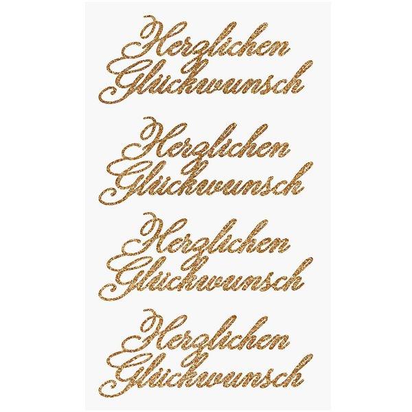 Paper Poetry Glittersticker Herzlichen Glückwunsch gold