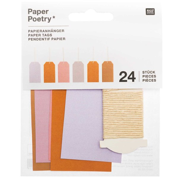 Paper Poetry Papieranhänger groß mauve 4,5x8cm 24 Stück