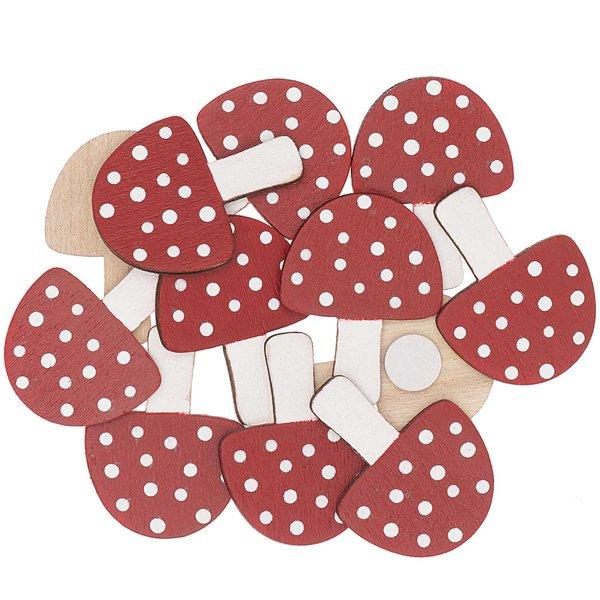 Ohhh! Lovely! Holzsticker Pilz rot-weiß 12 Stück