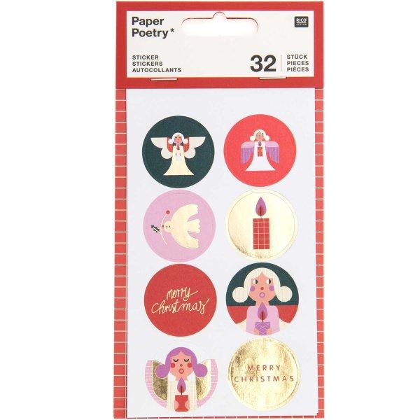 Paper Poetry Sticker Weihnachten Kreise 4 Blatt