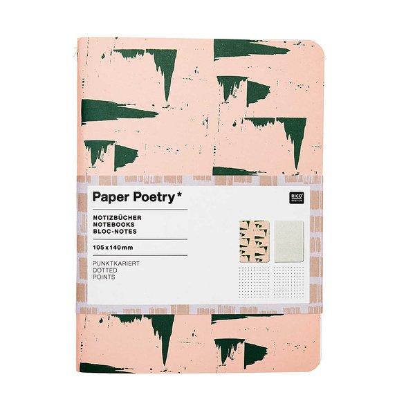 Paper Poetry Notizbücher rosa-grau A6 punktkariert 40 Seiten 2 Stück