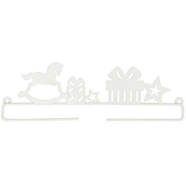 Rico Design Dekobügel Schaukelpferd weiß 21cm Metall