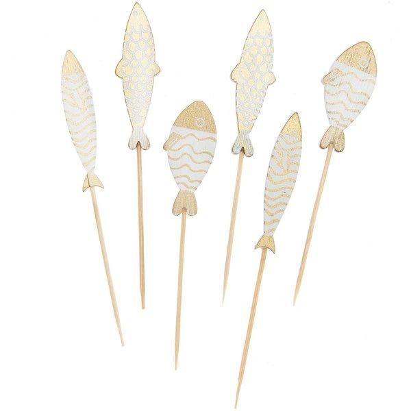 Ohhh! Lovely! Deko-Picker Fisch Mix gold-weiß 7,5-8,5cm 6 Stück