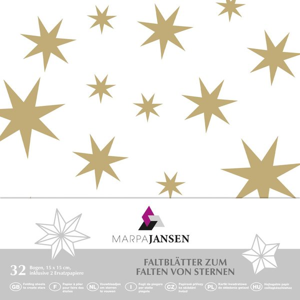 MARPA JANSEN Faltblätter weiß Sterne gold 15x15cm 32 Stück