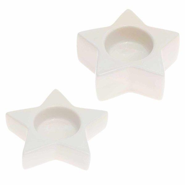 Ohhh! Lovely! Teelichthalter Stern weiß 10,2x2,5cm