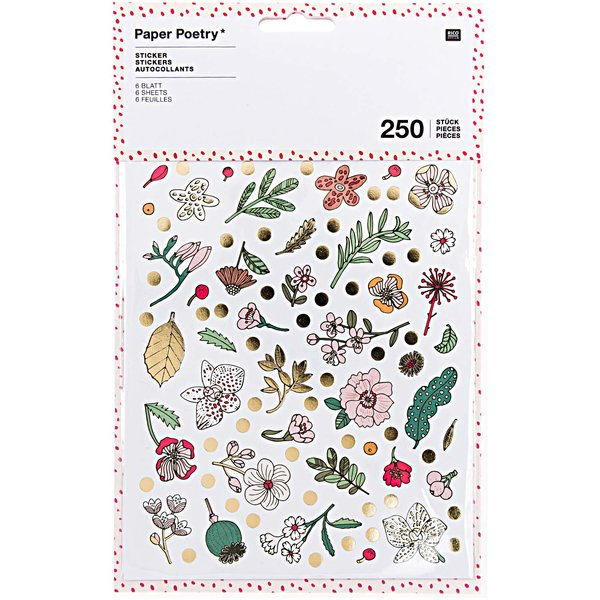 Paper Poetry Sticker Hygge Flowers 6 Blatt