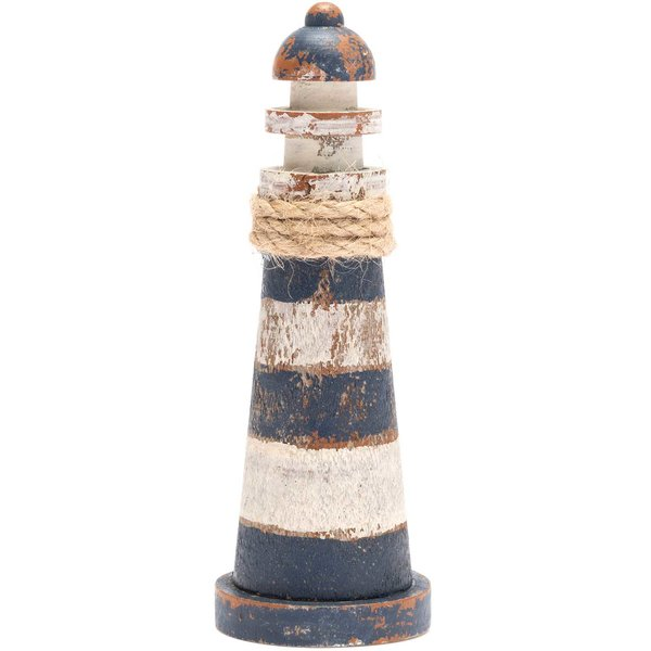 Holz-Leuchtturm Shabby dunkelblau-weiß 12,5cm