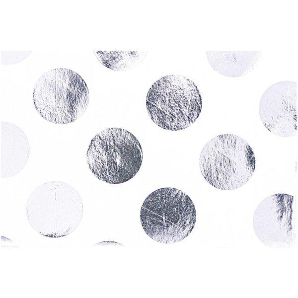 Paper Poetry Seidenpapier weiß Punkte silber 70x50cm 4 Bogen Hot Foil