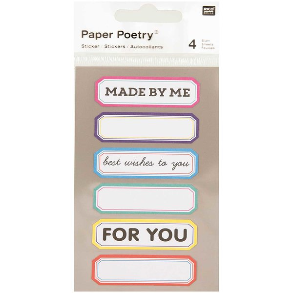 Paper Poetry Sticker Labels mehrfarbig 4 Bogen