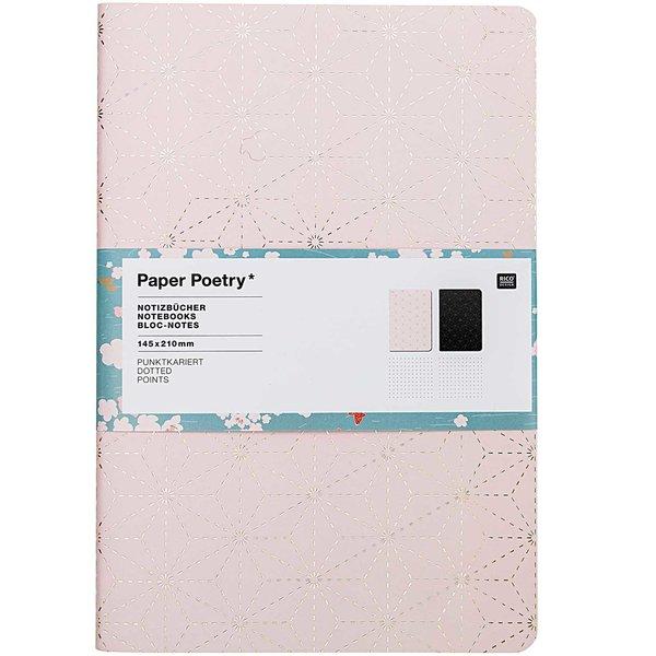 Paper Poetry Notizbücher Jardin Japonais grafisch A5 punktkariert 40 Seiten 2 Stück