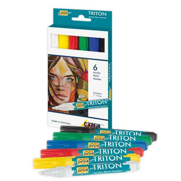 KREUL TRITON Acrylic Paint Marker 1-4mm 6teilig