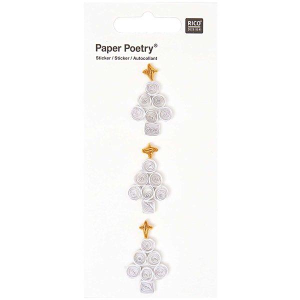 Paper Poetry Quilling Sticker weiße Tannenbäume