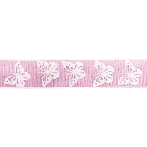 Dekorband Schmetterlinge rosa-weiß 2,5cm 5m