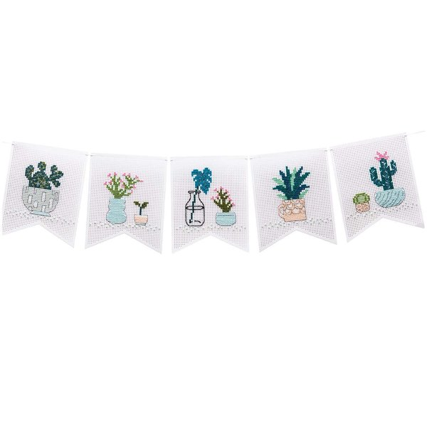 Rico Design Stickpackung Wimpelkette Kakteen