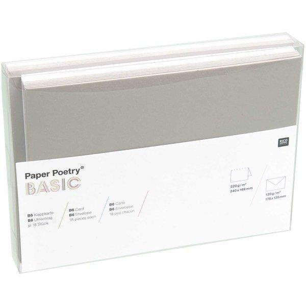 Paper Poetry Kartenset Basic weiß-grau B6 36teilig