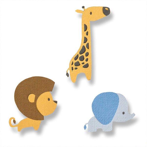 Sizzix Thinlits Die Set Baby Jungle Animals by Jordan Caderao