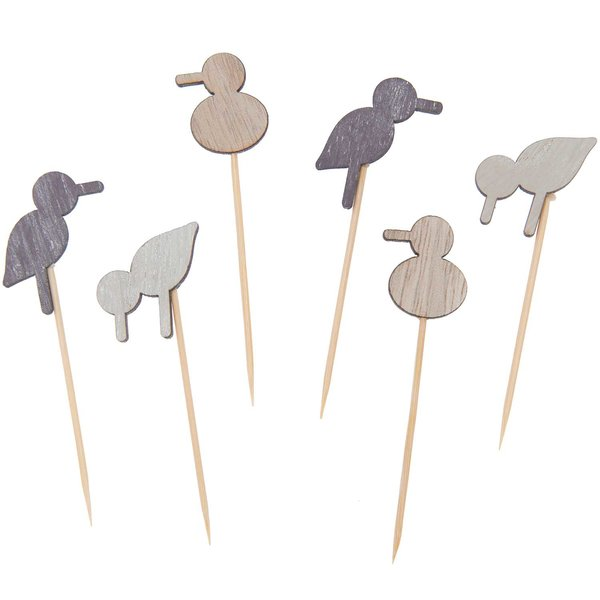 Ohhh! Lovely! Deko-Picker Möwe Mix natur 6,6-7,3cm 6 Stück