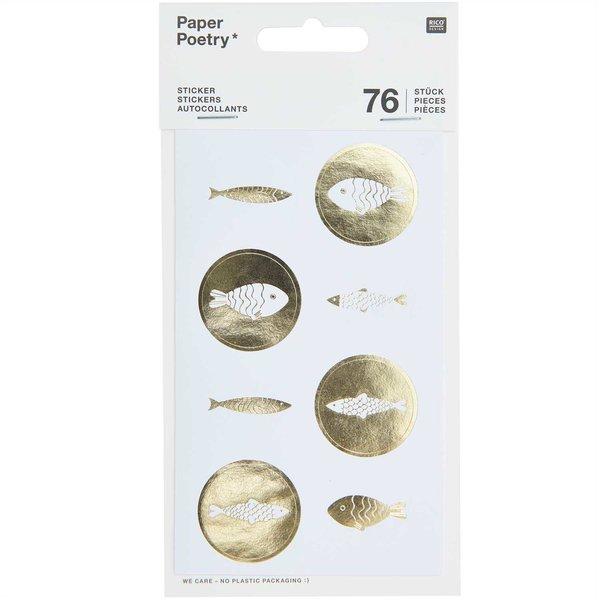 Paper Poetry Sticker Fische weiß-gold 4 Blatt